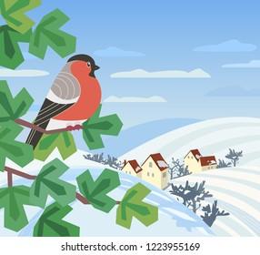 Cute red Bullfinch bird sitting on tree. Minimal cartoon style winter birds of woodland, backyard. Birdwatching design idea. Merry Christmas, New year eve greeting card background. Vector illustration