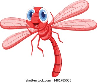 Cute red butterfly cartoon vector and illustration