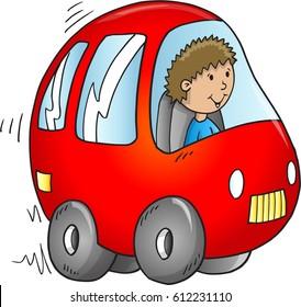 Cute Red Car Vector Illustration Art