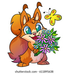 Cute red cartoon squirrel with different flowers and a butterflyl, vector.