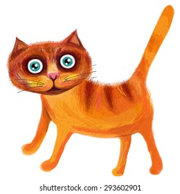 Cute red cat with big eyes on a white background.