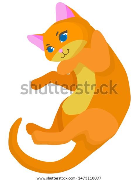 Clip Art of Cat Lying On Its Back