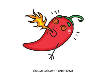 Cute red Chili . Vector Illustration . Isolated on a white background.