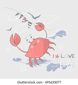 Cute red crab and flags with slogan. Vector illustration for baby apparels, t shirt, stickers, and printed tee design.