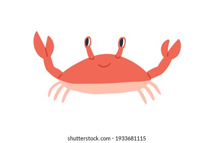 Cute red crab with funny eyes and claws. Sea creature with pincers isolated on white background. Childish colored flat cartoon vector illustration of funny smiling lobster