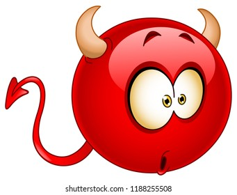 Cute red devil emoticon with a wondered confused surprised expression on his face