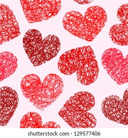 Cute red doodled hearts seamless background