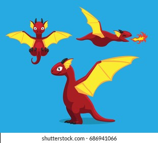 Cute Red Dragon Cartoon Vector Illustration