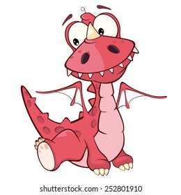 Cute red dragon vector illustration. Cartoon