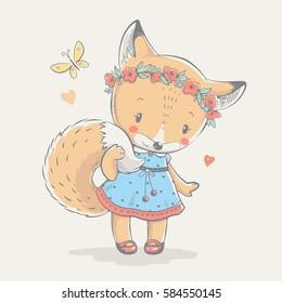 Cute red fox in blue dress cartoon hand drawn vector illustration. Can be used for t-shirt print, kids wear fashion design, baby shower invitation card.