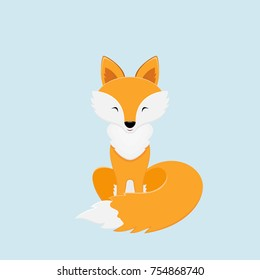 Cute red Fox on blue background, illustration.