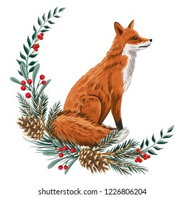 Cute red fox, pine branch, cones floral wreath Christmas greeting card. Woodland animal winter illustration.