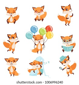 Cute red foxes showing various emotions and actions. Laughing, sitting, walking, dancing, sleeping, reading, angry, holding colorful balloons. Flat vector design