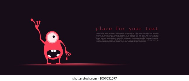 Cute red with funny emotions and place for text on dark background. cartoon illustration