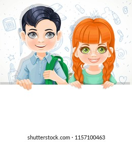 Cute red haired girl in green tee-shirt and brunette boy with school bag holds  large white horizontal banner on a white background with school doodles