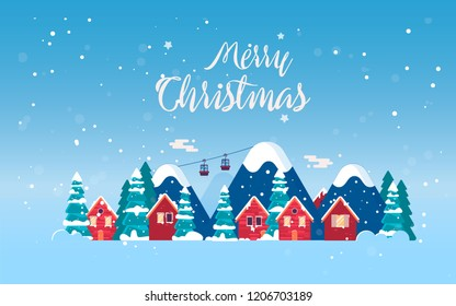 Cute red houses in snowdrifts and mountains covered with snow/ Winter holidays in the mountains concept banner. Merry Christmas  poster