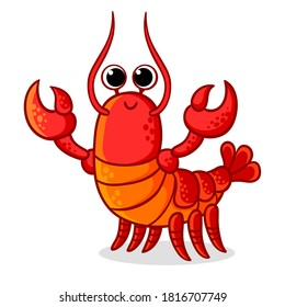 Cute red lobster with claws on a white background. Vector illustration with a sea animal on a marine theme in a cartoon style.