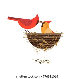 Cute Red Northern cardinal birds couple icon. Comic flat cartoon. Minimalism simplicity design. Winter male bird is feeding by seed female sitting on eggs in nest. Template vector scavenging card