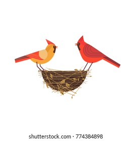Cute Red Northern cardinal couple icon. Comic simple flat cartoon. Winter birds on nest in backyard, city garden wonderland. Stylized funny bird. Template for vector scavenger hunt card background