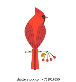 Cute Red Northern cardinal icon. Comic simple flat cartoon.
