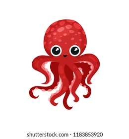 Cute red octopus with big shiny eyes. Soft-bodied mollusk with seven tentacles. Sea and ocean theme. Flat vector icon