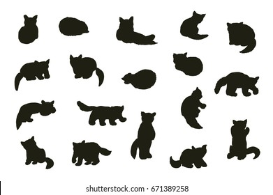 Cute red panda animal cartoon doodle silhouette vector illustrations set