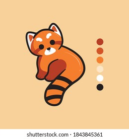 Cute red panda mascot with cartoon style and attractive color palette