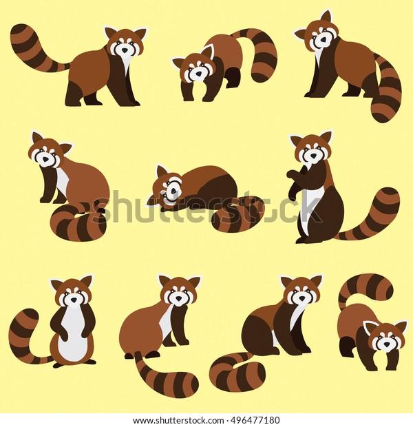 Image Vectorielle De Stock De Joli Panda Rouge Sur Fond