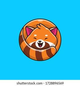Cute Red Panda Vector Icon Illustration. Animal Icon Concept Isolated Premium Vector. Flat Cartoon Style