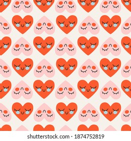 Cute red and pink heart pattern. Valentine's day, love concept. Geometric shaped heart pattern. Repeatable vector design for wrapping, stationery and fabric. Trendy hand-drawn hearts. Love concept.