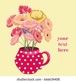 Cute  red pot with dots with colorful poppies. Vector illustration on yellow background. Place for your text