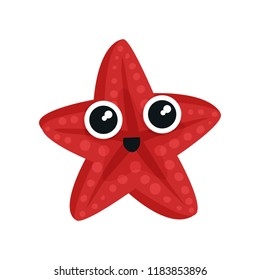Cute red sea star with big shiny eyes. Adorable marine creature. Small aquatic animal. Flat vector for kids t-shirt print or sticker