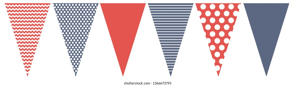 Cute Red, White and Blue Vector Blotting Flag.Do It Yourself Party Decoration Set. Simple Geometric Various Patterns. Lines, Dots and  Chervron Design.Party Garland Vector Elements.Do It Yourself Set.