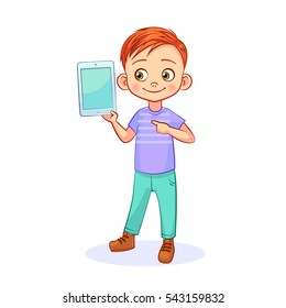 Cute red-haired boy holding a tablet computer, pointing at the screen. Bright vector illustration, isolated on a white background.