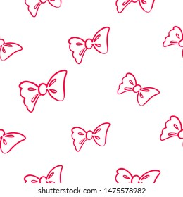 Cute redline seamless pattern with bow. Simple doodle hand drawn art. Vector linear design on white background.