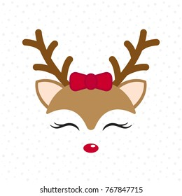 Cute reindeer. Baby deer. Merry Christmas cartoon character. Girl with red bow. Vector illustration