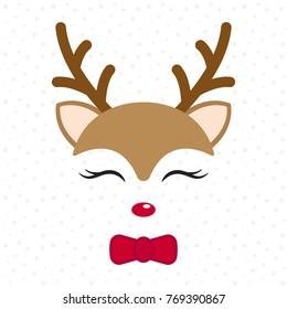 Cute reindeer. Baby deer. Merry Christmas cartoon character. Boy with bow tie . Vector illustration