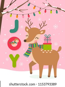 Cute reindeer and bird cartoon illustration for christmas and new year card template