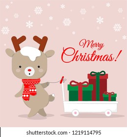 Cute reindeer cartoon carrying chirstmas gifts,  lovely christmas background.