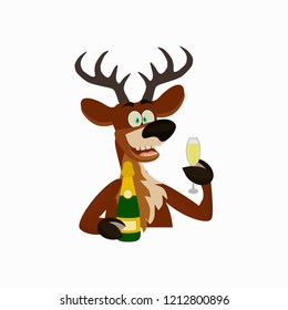 Cute Reindeer Christmas cartoon character with wineglass and Bottle of Champagne. Flat style of icons  for banner, interior design.