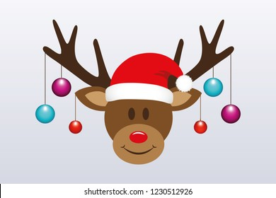 cute reindeer with christmas tree balls and santa hat vector illustration EPS10