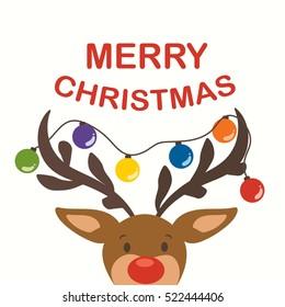 Cute Reindeer with festive decoration Christmas vector design illustration
