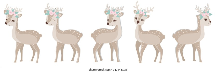 cute reindeer  with flowers on the head in a different position set