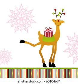 cute reindeer with gift