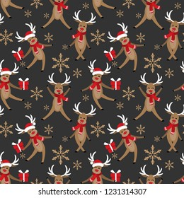 Cute reindeer and giftbox seamless pattern. Cute Christmas holidays cartoon character background.