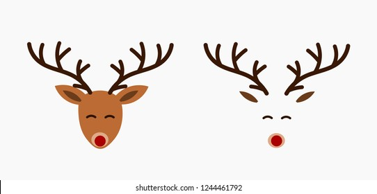 Cute reindeer heads. Vector illustration.