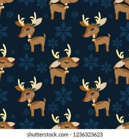 Cute Reindeer with holly berries seamless pattern. Cute Christmas holidays cartoon character background.
