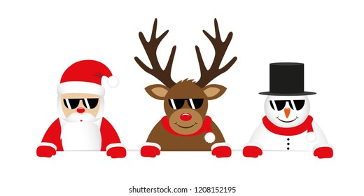 cute reindeer santa claus and snowman cartoon with sunglasses for christmas vector illustration EPS10