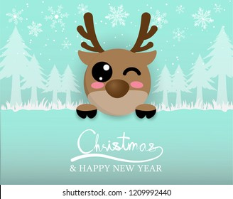 cute reindeer with snow and christmas tree in forest,digitalcraft,paper cut.