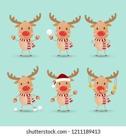 Cute reindeer .vector illustration.